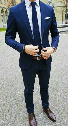 The Blue Suit Collection Gentleman Mode, Gentleman Style, Blue Suit Wedding, Wedding Suits, Wedding Men, Mens Fashion Wear, Suit Fashion, Fashion Clothes, Blazer Outfits Men