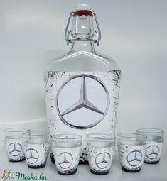 MERCEDES pálinkás készlet, MERCEDES italos üveg, csatos üveg pálinkás poharakkal mi rajongói szülinapi ajándék (Biborvarazs) - Meska.hu Carafe, Decanter