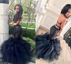 Sexy Black Long Mermaid Prom Dresses Halter Backless Tiered Puffy Train Floor Length Evening Party Gowns Formal Dresses from Fungala. Black Girl Prom Dresses, Prom Dresses Under 100, African Prom Dresses, Prom Dresses 2018, Backless Prom Dresses, Tulle Prom Dress, Mermaid Prom Dresses, Cheap Prom Dresses, Formal Dresses