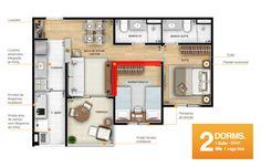 Planta bem aproveitada de apto de 57m² com 2 dormitórios, sendo 1 suíte.