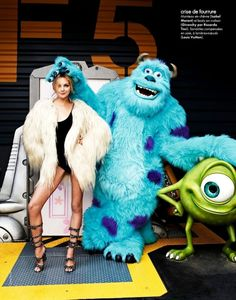 Elle France's Fashion Parade in Disneyland! (Editorial) - Heather Marks in Isabelt Marang & Givency with Monster Inc's Sulley & Mike!