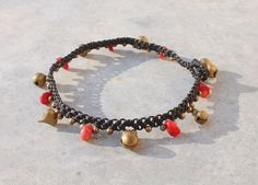 Black Macrame Anklet with Brass Bells and Brass Heart by Malatichan