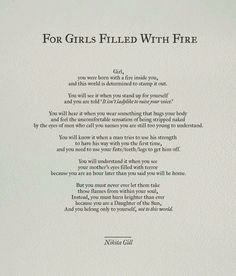 For Girls Filled With Fire by Nikita Gill