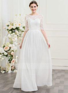 [US$ 147.49] A-Line/Princess Scoop Neck Floor-Length Chiffon Lace Wedding Dress (002095838)