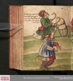 """Der Moriskentanz - """"Allso dantzen die morystgen mit ain ander schnölle mit den Fingern dar zue"""" - """"das Ist das moristgis dantz spil schre dar zu wie die kelber"""" Christoph Weiditz  Trachtenbuch  [1530/1540]"""