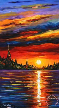 Full of deep scarlet and brown hues, this piece of sea fine art on canvas is a great work by Leonid Afremov. This red sunset painting will show you the power of vibrant colors and generous strokes. Title: Morning Sky Size: 20 x 36 inches cm x 90 cm)[.