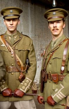 Tom Hiddleston & Benedict Cumberbatch (War Horse).  (Jesus, Tom has a riding crop, a uniform on, AND a very serious look on his face.  I'm pretty sure my uterus (never mind my ovaries) just exploded. F**k! ).