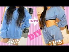 Trendy Ideas For Diy Fashion Outfits Crop Tops Diy Shorts, Sewing Shorts, Sewing Clothes, Diy Pullover, Diy Sweatshirt, T Shirt Diy, Sweat Shirt, Skirt Fashion, Diy Fashion
