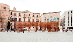 urbanus extends ancient wall with bamboo for BCN re.set in barcelona - designboom | architecture
