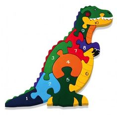 T-Rex Number Wooden Jigsaw  A stunningly crafted Wooden Jigsaw from Alphabet Jigsaws. Designed, made and hand-painted in Ireland this Dinosaur jigsaw has 10 pieces brightly coloured pieces numbered one to ten. He is securely packaged in a 100% recyclable cardboard box and includes a natural cotton drawstring bag for easy tidy up and storage. Great as a gift this range of wooden jigsaws come with either numbers or letters and are a fantastic and fun learning tool.