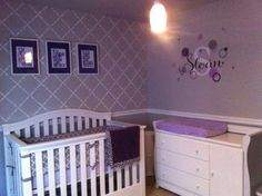 Two Purple And Gray Wall Art Canvases 12x12 Decals Nursery Flower Ten Til Joy Pinterest