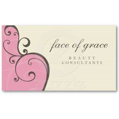 BUSINESS CARD elegant delicate pink cream brown...  A pretty, feminine design perfect for a beautician or beauty salon, posh homewares or cake designer.  More colors and products available in store...
