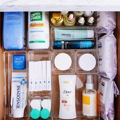 "We call this the ""daily drawer"" - and a small amount of organizing, can keep it clear of clutter. We used our favorite acrylic modular… Bathroom Drawer Organization, Under Sink Organization, Bathroom Drawers, Small Space Organization, Life Organization, Makeup Organization, The Home Edit, Custom Labels, Decluttering"