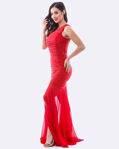 08815b36f652 One Shoulder Ruching Dress w  Chiffon Overlay - Red Prom Dresses