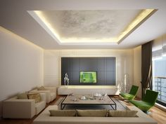 Living room with recessed ceiling containing recessed lighting. Beige furniture, wood floor and large square coffee table