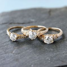 """Leigh Jay & Co. shared a post on Instagram: """"More old european cuts in our in house Leigh Jay styles. Vintage diamonds always look great in…"""" • Follow their account to see 650 posts. Eclectic Wedding, European Cut Diamonds, Vintage Diamond, Diamond Cuts, Jay, Wedding Bands, Looks Great, Wedding Inspiration, White Gold"""