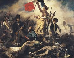 """""""Liberty Leading the People,"""" a depiction of the French Revolution. Painting by Eugène Delacroix, 1830."""