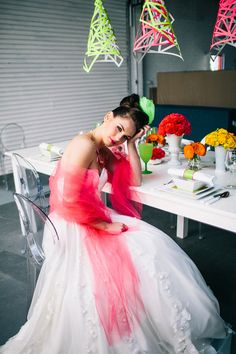 Neon Wedding Inspiration  Our gorgeous Evelyn gown!  Many thanks to the wonderful team who was involved.  CD Weddings  Natasja Kremers Photography  Urban Light  Zinnia Floral Designs  Wren Press  Kathryn Colgan  Unveiled Hair and Makeup  Cake Collections  Megan Crosby and Mitch Yeats  Orielle  Anna Foley Gallery
