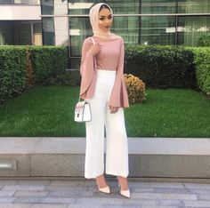I chose this outfit because I like the color scheme and I like wearing wide, flowy pants as pictured. Modest Fashion Hijab, Modern Hijab Fashion, Hijab Fashion Inspiration, Islamic Fashion, Hijab Chic, Muslim Fashion, Casual Hijab Outfit, Style Inspiration, Mode Outfits