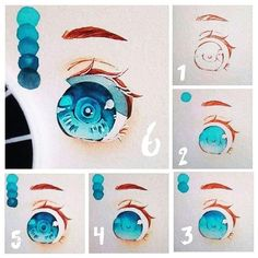 Watercolor Eyes, Watercolor Artwork, Drawing Skills, Drawing Lessons, How To Draw Anime Eyes, Doll Face Paint, Blue Anime, Step By Step Drawing, Character Design Inspiration