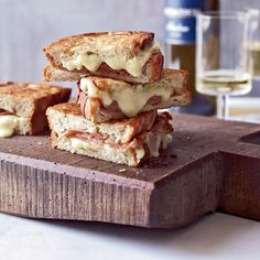 Mortadella and Cheese Panini | To make these sandwiches, use 6-by-4-inch slices of dense white bread from a peasant loaf to accommodate the hearty filling.