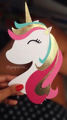 Einladung Einhornparty Unicorn Themed Birthday Party, Diy Birthday, Birthday Party Decorations, Foam Crafts, Paper Crafts, Unicorn Crafts, Crafts For Kids, Preschool Crafts, String Art