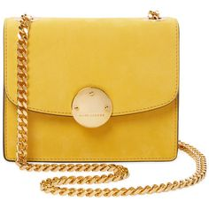 Marc Jacobs Collection Trouble Mini Suede Crossbody - Yellow ($649) ❤ liked on Polyvore featuring bags, handbags, shoulder bags, purses, yellow, mini crossbody, shoulder handbags, crossbody shoulder bags, shoulder strap bags and shoulder strap handbags