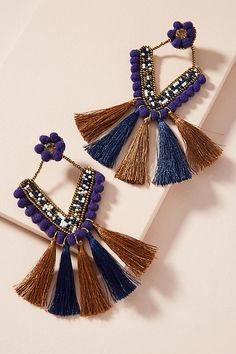 Slide View: 1: Fringed Trapezoid Drop Earrings