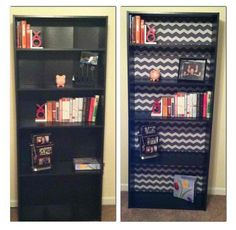 Put fabric in the back of my bookcase to hide the creases in the shelving.