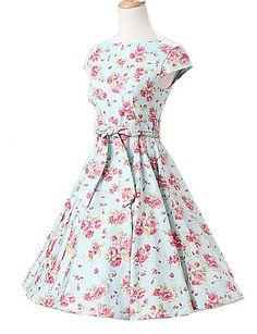 καπάκι γυναικών μανίκια δυόσμο λουλούδια floral φόρεμα, vintage καπάκι μανίκια '50 swing rockabilly φόρεμα 4910391 2017 – €26.45