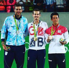Andy Murray wins gold, Juan Martin Del Potro silver, and Kei Nishikori bronze in singles @ Rio 2016 Olympic Games