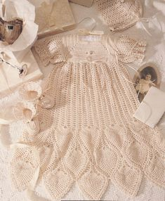 crochet christening gown patterns   Christening Collection Baby Crochet Pattern Book Dress Gown Pineapples ...