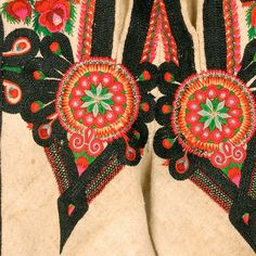 Decoration on the flies: parzenica pattern. On the side stripe, embroidered raki, lobsters pincers motif.  Podhalanian Highlanders, Stare Bystre, P. Nowy Targ, 1920s-1960s