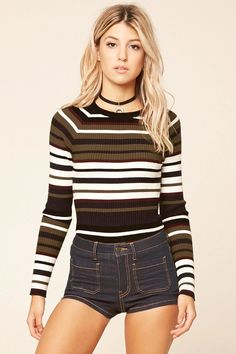 Forever 21 Contemporary - A ribbed knit sweater top featuring horizontal stripes, a round neckline, long sleeves, and a form-fitting silhouette. #F21contemporary