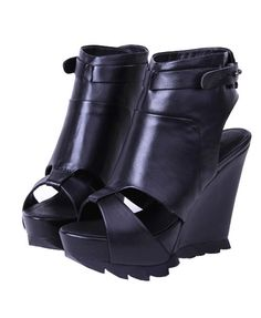 5d0ff92d4cd Black Leather Peep Toe Wedges .....I want to not like these