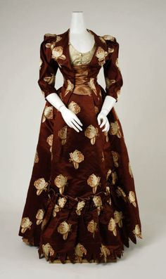 House of Worth, Dress with Gold Cabbage Roses, c. 1883.