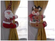 Cortineros Santa y Reno Christmas Projects, Holiday Crafts, Christmas Holidays, Felt Christmas Decorations, Christmas Ornaments, 242, Diy Weihnachten, Felt Ornaments, Rustic Christmas