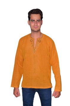 Mens Wear Embroidery Lenin Short Kurta Yellow Cotton V Neck Plus Sizes Stylish #Angarakha #ShortKurta