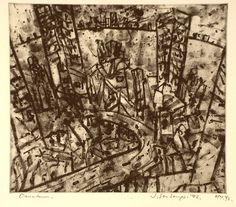 Artist: SENBERGS, Jan | Title: Downtown | Date: 1992 | Technique: aquatint, printed in black, from one plate | Copyright: © Jan Senbergs