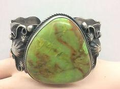 Navajo Chimney Butte Big Bold Gaspeite Sterling Signed Bracelet | eBay