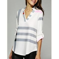 Buy V Neck Color Block Tunic Blouse, sale ends soon. Be inspired: discover affordable quality shopping on Gearbest Mobile! Cheap Blouses, Blouses For Women, Tunic Blouse, Shirt Blouses, Sammy Dress, Cute Outfits, Fashion Outfits, Fashion Site, Men Fashion