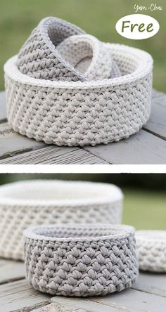 Mini Nesting Baskets Free Crochet Pattern Nautical Basket Crochet Free Pattern is a great project for nautical decor lovers. Super easy to crochet for beginner and really stiff and sturdy. Crochet Basket Pattern, Easy Crochet Patterns, Knitting Patterns, Crochet Baskets, Crochet Basket Tutorial, Sewing Patterns, Afghan Patterns, Bag Patterns, Hand Knitting