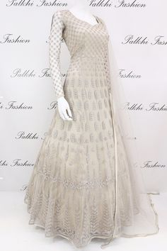 Wear a lavish grace in this light gray designer floor length outfit featuring gorgeous petite stone & handwork & matching soft net duppata with petite stone Indian Fashion Dresses, Indian Gowns Dresses, Dress Indian Style, Indian Designer Outfits, Pakistani Dresses, Indian Wear, Royal Dresses, Designer Anarkali Dresses, Designer Dresses