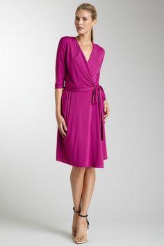C & T Peaked Lapel Wrap Dress