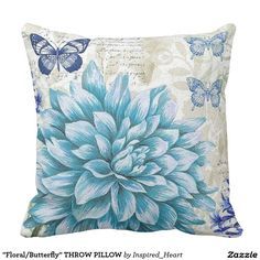 """""""Floral/Butterfly"""" THROW PILLOW"""