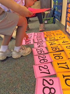 Math - life-size hundred and 120 chart games-- seriously genius! my students BEGGED to play these games! Preschool Math, Math Classroom, Kindergarten Math, Fun Math, Teaching Math, Teaching Numbers, Math School, School Fun, School Ideas