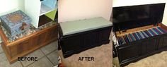 From a run-down hope chest collecting junk to a pretty, newly finished filing cabinet! :)