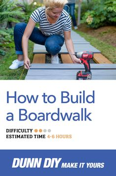Learn how to build your own boardwalk (wood deck walkway). A boardwalk provides a walking surface that is slightly above ground & will remain solid year-round. Wooden Pathway, Wood Walkway, Cool Deck, Diy Deck, Deck Plans, Pergola Plans, Pergola Ideas, Pergola Swing, Decking Ideas