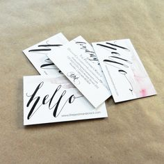 cute watercolor & calligraphy business cards: TPK Business Cards | The Postman's Knock