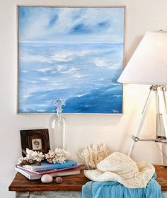 Tara Dennis - see how easy it is to add a touch of beach chic to your home decor with this DIY seaside painting Seaside Art, Beach Art, Coastal Style, Coastal Decor, Abstract Ocean Painting, Beach Themes, Painting Inspiration, Design Inspiration, Diy Art